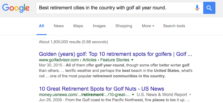 google-search-best-retirement-cities-with-golf